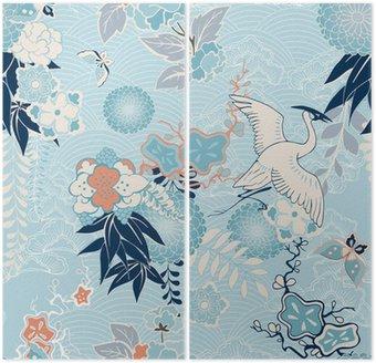 Dyptyk Kimono z dźwigiem w tle i kwiatami