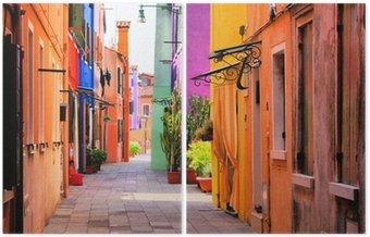 Dyptyk Kolorowe ulica w Burano koło Wenecji, Włochy