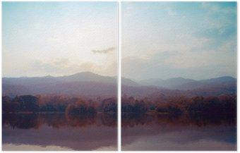 Dyptyk Krajobraz jeziora gór jesienią - style klasyczne.