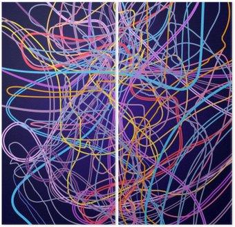 Dyptyk Linie neonowe, abstrakcyjnych kompozycji, jasnym tle, plątanina kolorowych linii, wektor sztuki projektowania