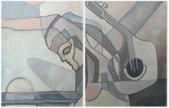Dyptyk Malarstwo abstrakcyjne z kobietą i Gitary