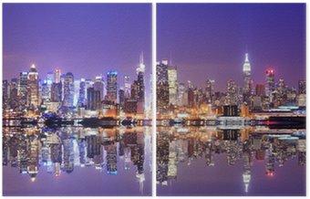 Manhattan skyline z odbicia