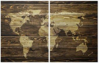 Dyptyk Mapa świata na tle drewna