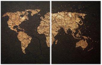 Dyptyk Mapa świata na tle grunge