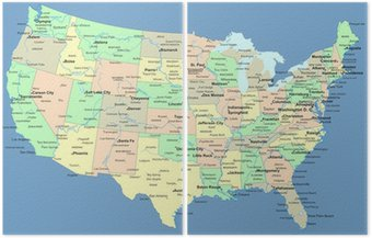 Dyptyk Mapa usa z nazwami państw i miast