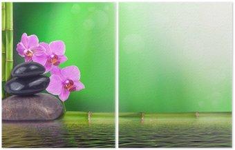 Dyptyk Martwa natura z bambusa, orchidei i kamieni