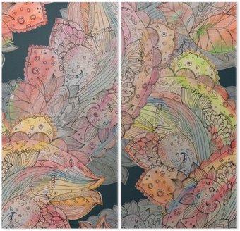 Dyptyk Moda bezszwowych tekstur z abstrakcyjnego kwiatowy wzór. watercolo