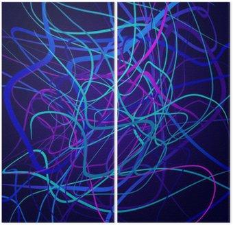 Dyptyk Neon kształty, kompozycji abstrakcyjnych, jasne tło, plątanina kolorowych kształtów wektorowych sztuki projektowania