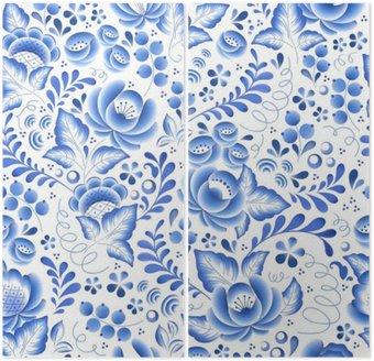 Dyptyk Niebieskie kwiaty rosyjski porcelany ozdoba piękna ludowej.