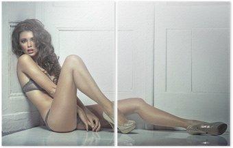 Dyptyk Piękna powabna kobieta w seksownej bieliźnie