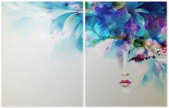 Dyptyk Piękne abstrakcyjne kobiety z abstrakcyjnych elementów