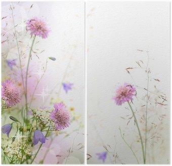 Dyptyk Piękne pastelowe kwiatów granicy - niewyraźne tło