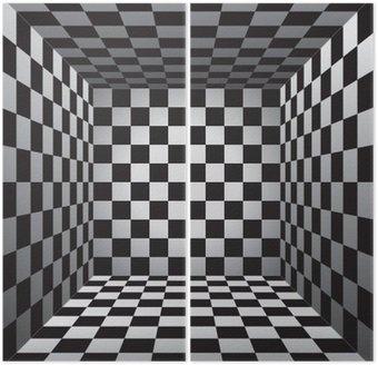 Dyptyk Plaid pokój, czarno-białe komórki, 3d szachownica, wektor wzór tła
