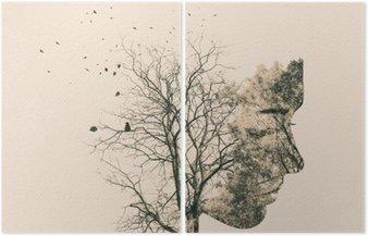 Dyptyk Podwójny portret narażenia młodej kobiety i jesiennych drzew.