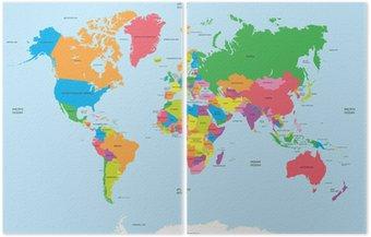 Dyptyk Polityczna mapa świata wektor