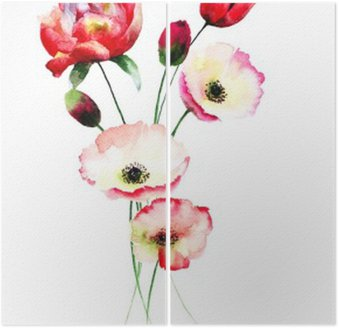 Dyptyk Poppy i tulipanów kwiaty
