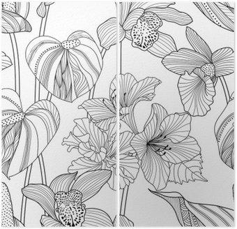Dyptyk Powtarzalne kwiatowy wzór