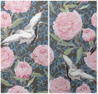 Dyptyk Ptaki z żurawiem, piwonii. Kwiatowy powtarzając chiński wzór. Akwarela