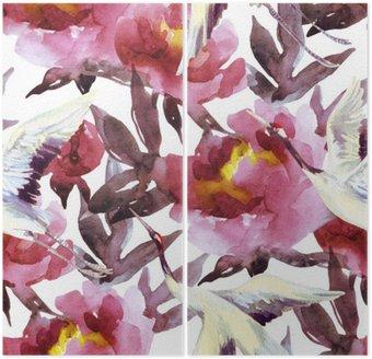 Dyptyk Ręcznie malowane akwarela peonie i ptaki żuraw