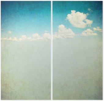 Dyptyk Retro obraz pochmurne niebo