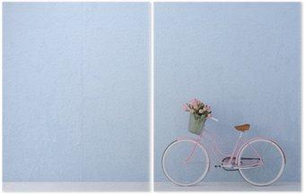Dyptyk Retro rower stary i niebieskie ściany. 3d renderowania