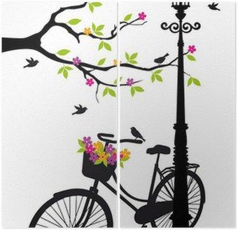 Dyptyk Rower z lampy, kwiaty i drzewa, wektor
