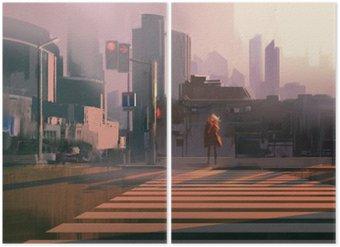 Dyptyk Samotna kobieta, stojąca na przejściu dla pieszych w miastach, ilustracja malarstwo