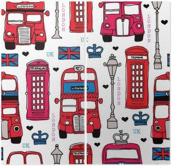 Dyptyk Seamless miłość London UK red icon background pattern podróży