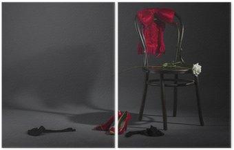 Dyptyk Seksowna bielizna, buty i biała róża na retro krzesła.