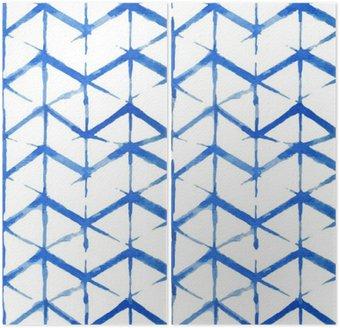 Dyptyk Shibori indygo bez szwu wzór