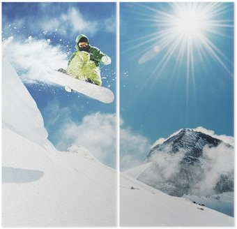 Dyptyk Snowboarder w górach skok inhigh