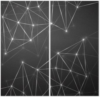 Dyptyk Streszczenie geometryczne tło z kropek i linii łączących. Nowoczesna technologia koncepcji. Łamana konstrukcja