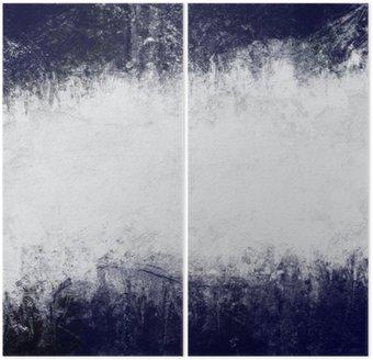 Dyptyk Streszczenie malowane tło w kolorze ciemny niebieski i biały z pustym miejscem na tekst