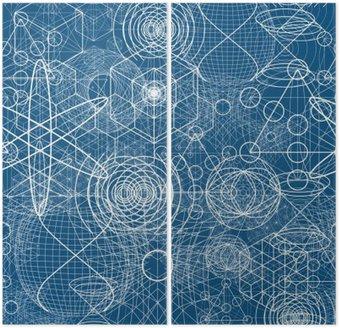 Dyptyk Święte symbole i elementy geometryczne tapety Jednolite wzór