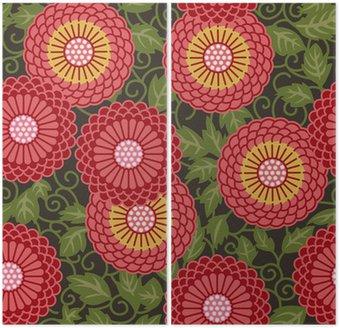 Dyptyk Tradycyjne kwiaty bez szwu wzór