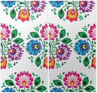 Dyptyk Tradycyjny kwiatowy wzór bez szwu z Polski na białym