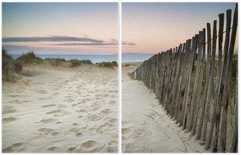 Dyptyk Trawiaste wydmy krajobraz o wschodzie słońca