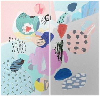 Dyptyk Trendy twórczy kolaż z różnych tekstur i kształtów. Nowoczesna szata graficzna. Niezwykłe dzieło. Wektor. Odosobniony
