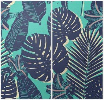 Dyptyk Tropical Palm liści bez szwu niebieski wzór