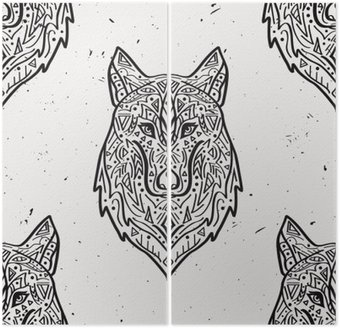 Vector grunge monochromatyczny szwu z plemiennej stylu wilka z ornamentami etnicznymi. Amerykańskie motywy Indyjskim. Konstrukcja Boho.