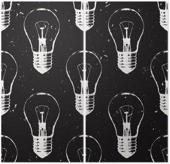 Dyptyk Vector grunge szwu z żarówek. Nowoczesne hipster stylu szkic. Idea i koncepcja twórcze myślenie.
