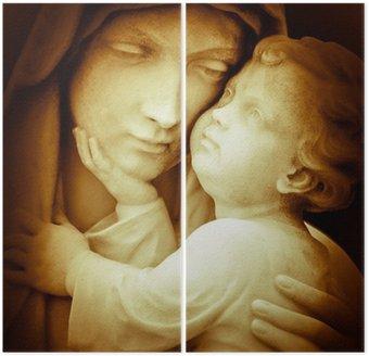 Dyptyk Vintage obraz Najświętszej Marii Panny niosący Dzieciątka Jezus