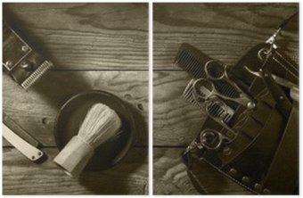Dyptyk Vintage zestaw Barbershop.Toning sepii