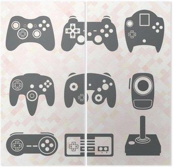 Dyptyk Wektorowa zestaw: Kontroler gier wideo sylwetki