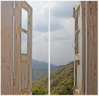 Dyptyk Widok z okna starego białym