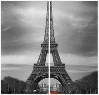 Dyptyk Wieża Eiffla i czerwony-paris samochód