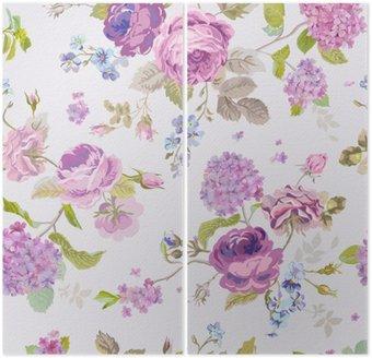 Dyptyk Wiosenne kwiaty tła - Seamless Floral Shabby Chic Wzór