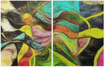 Dyptyk Wirujące kształty, kolor i linie