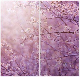 Dyptyk Wiśniowe drzewo kwiat