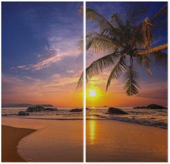 Dyptyk Zachód słońca nad morzem. Województwo Khao Lak w Tajlandii